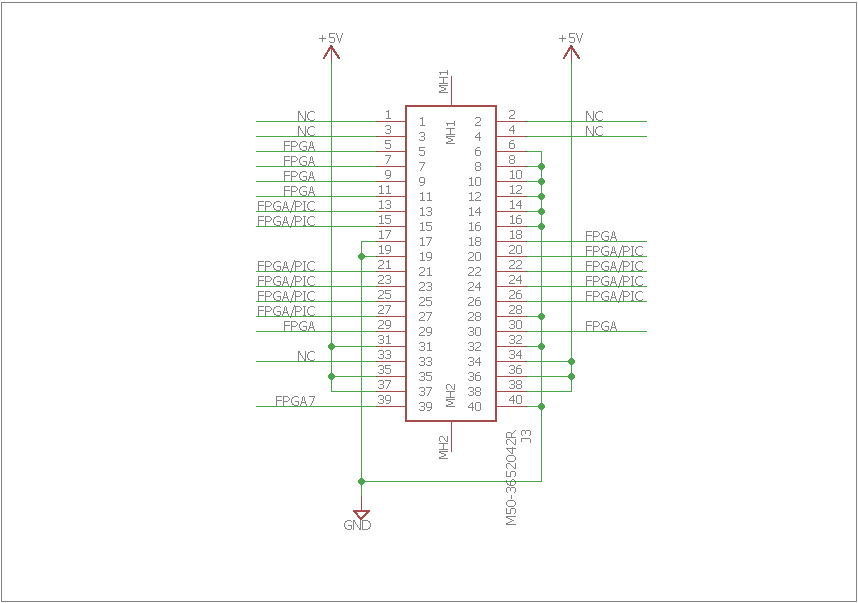 Most of the other pins connected to the FPGA or both the FPGA and PIC.