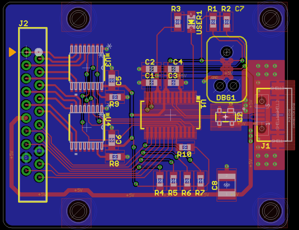 USB interface board layout for the user definable switches panel.