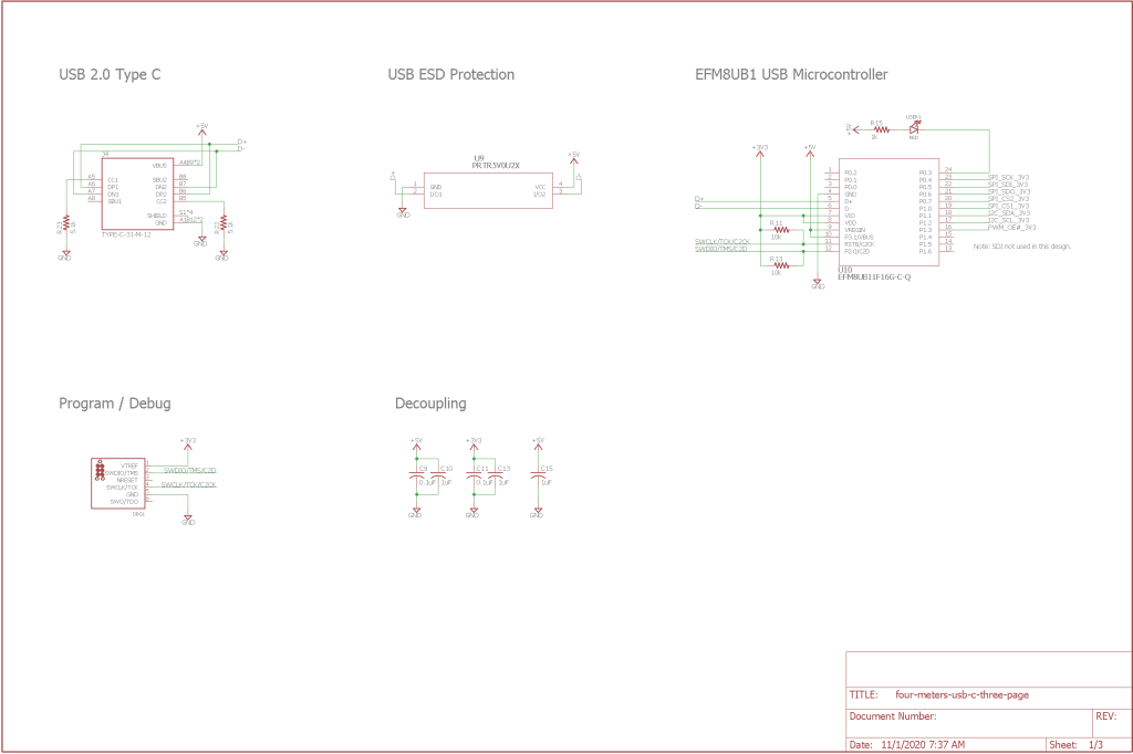 Schematic page 1. USB 2.0 Type C, program/debug, and microcontroller.