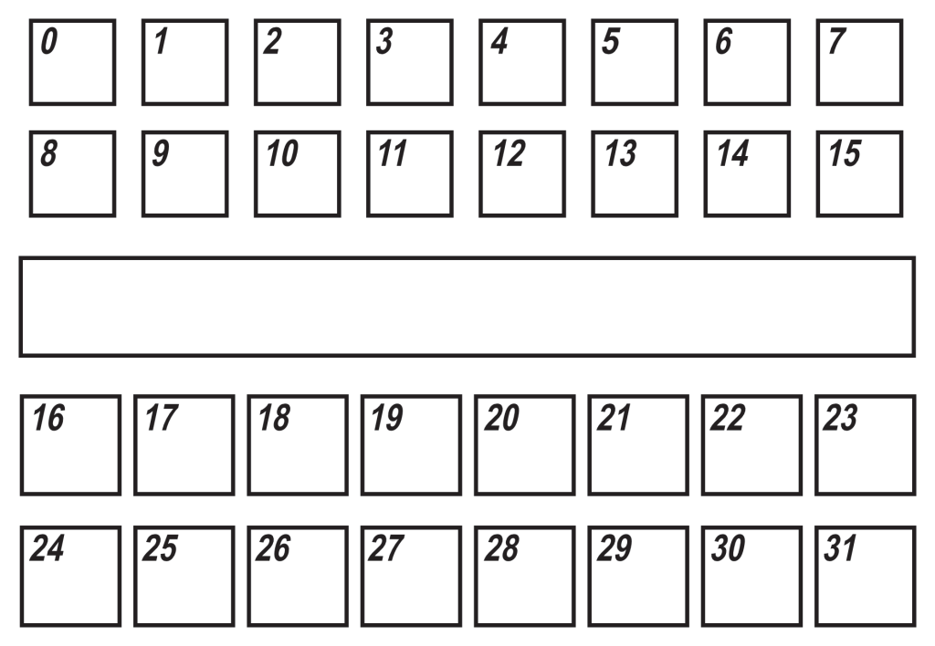 Crosspoint switch matrix panel key and tally light numbering.