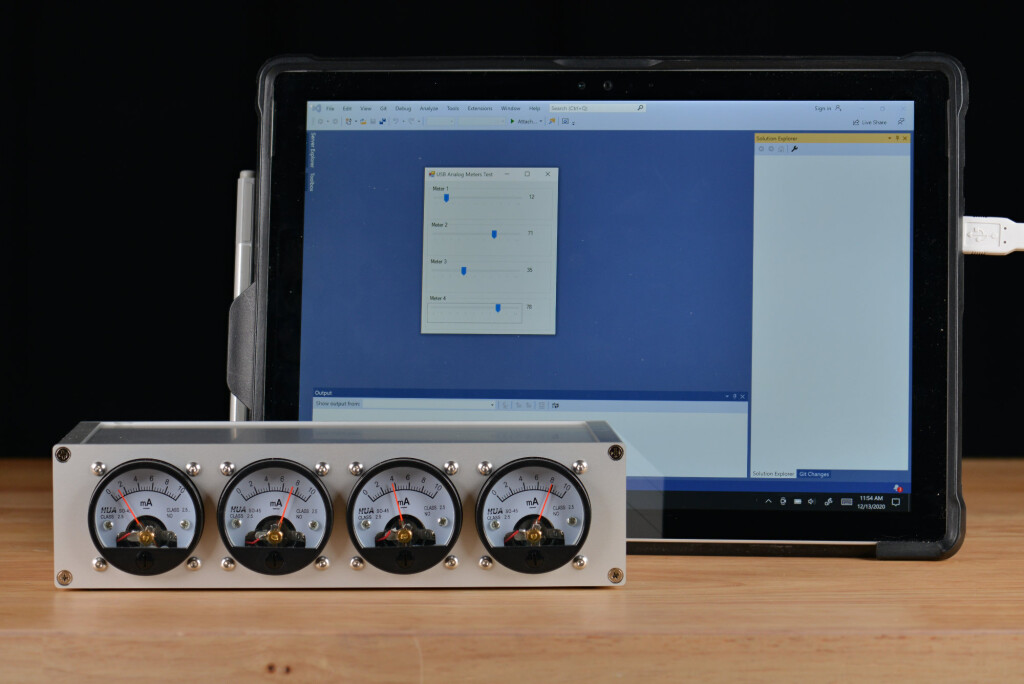 The USB analog panel meters controlled by a Windows 10 C# .NET app developed in Visual Studio 2019.