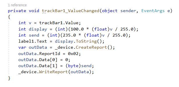The code for one of the trackbar's ValueChanged event.
