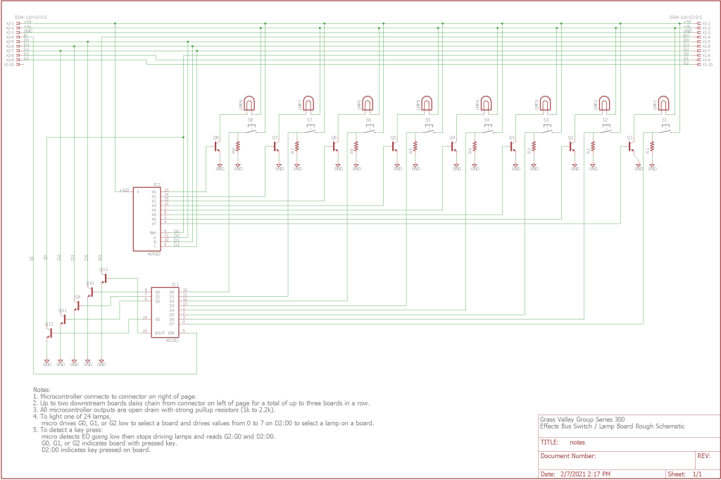 A very rough schematic of one of the eight push button boards. Reference designators are completely wrong and the resistor on the base of the transistors are missing.
