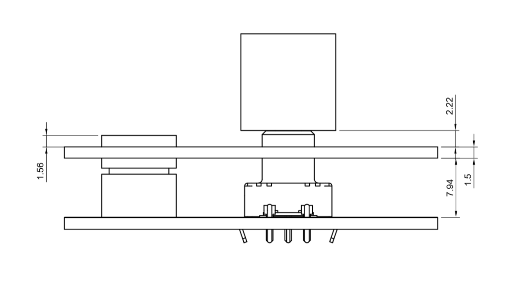 A quick drawing showing the knobs will have plenty of clearance when pressed to avoid hitting the aluminum panel.