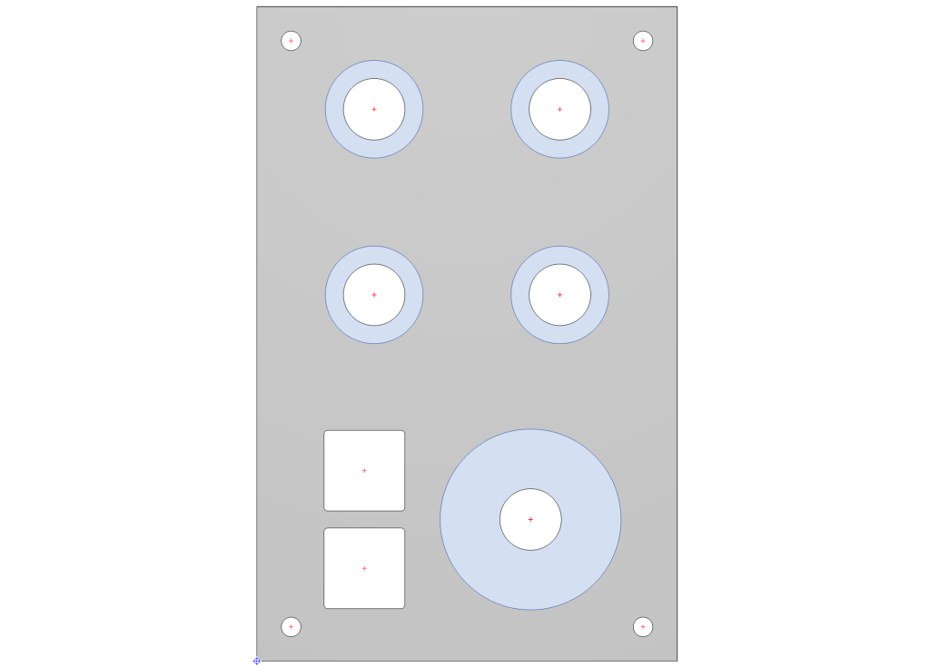 The completed front panel. The area occupied by the knobs is shown in blue.
