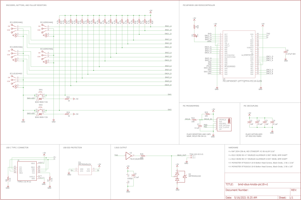 The complete schematic for the project.