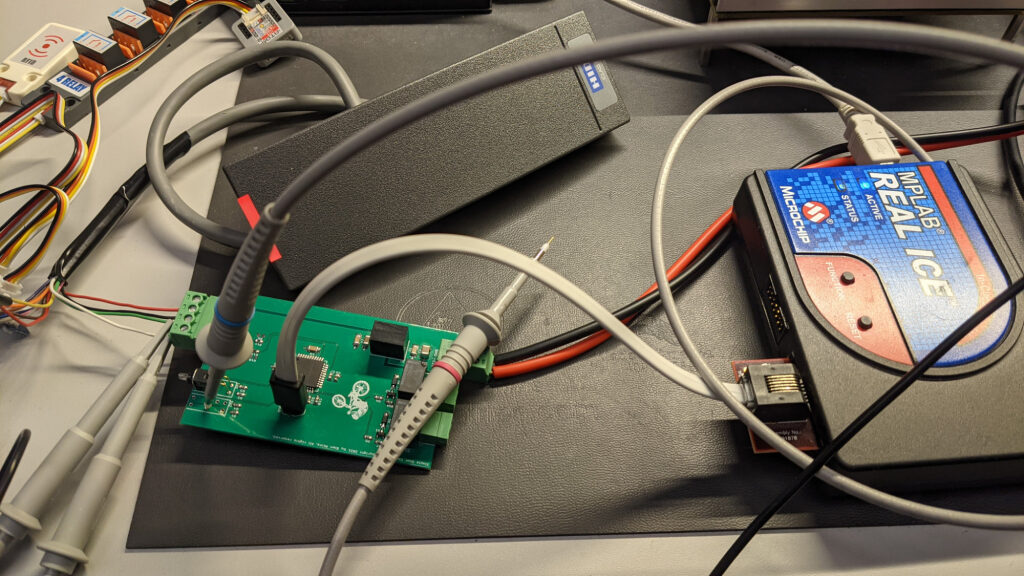 The debug setup for writing and testing the software for the simple access controller.