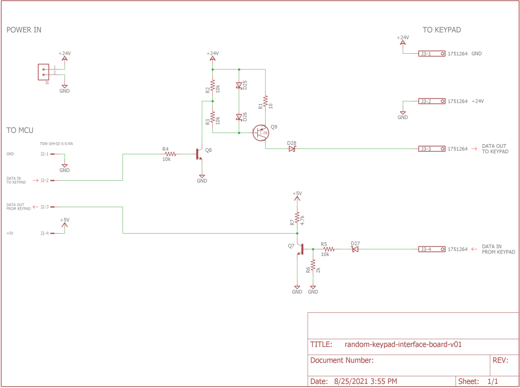 Schematic for the electrical interface test board.