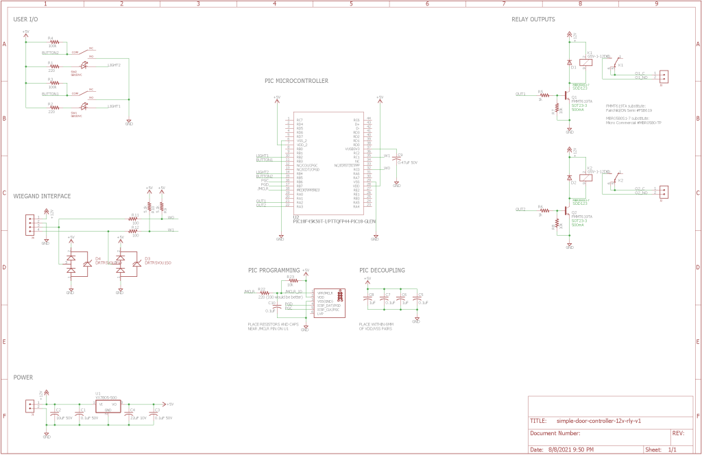 The final schematic for the simple door access controller.