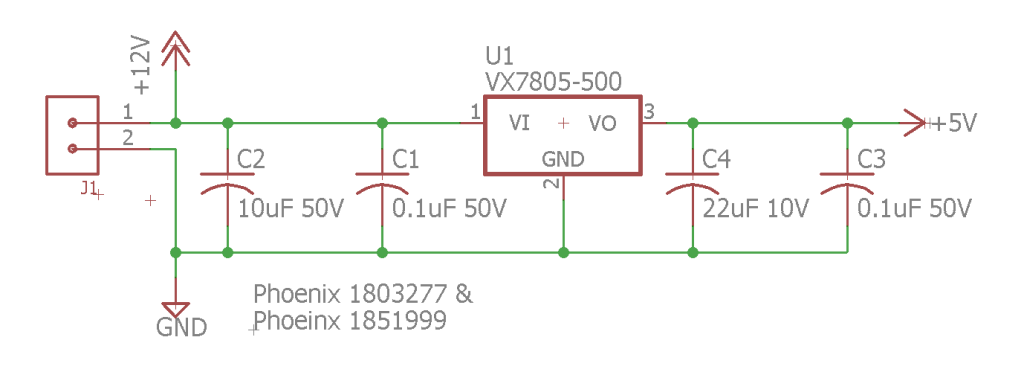 The 5V power supply for the microcontroller.