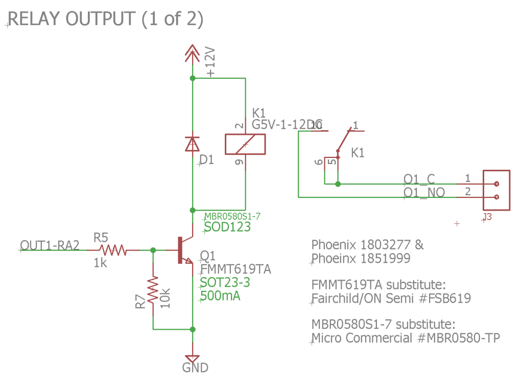 Schematic of the first of two of the relay outputs.