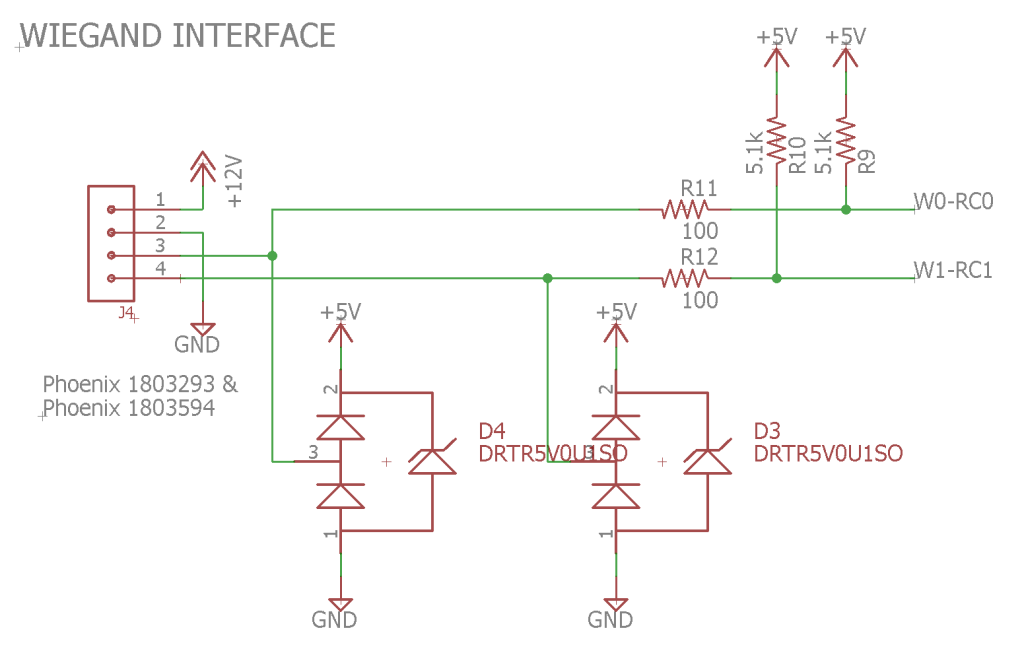 The Wiegand interface portion of the schematic.