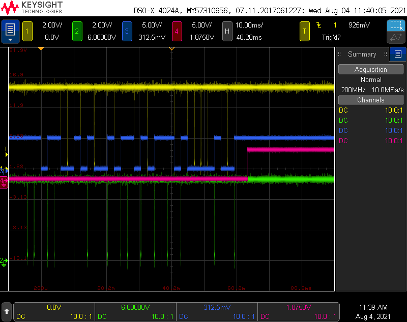 Scope traces while decoding Wiegand protocol. Yellow is a '0', green is a '1', blue is the decoded data, magenta is the timer expiring signalling the end of the data.