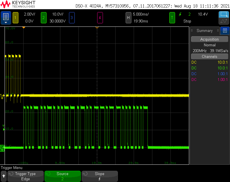 The green trace is the keypad responding to a poll from the controller. In this case, it's responding with the PIN 1-2-3-4 then the end of data character 0xd, the door number 0x8, and the checkum 0x.